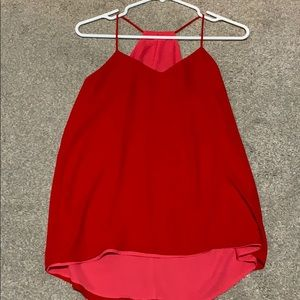 Express reversible racerback tank red and pink